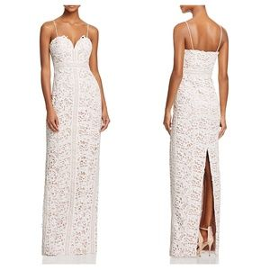 bariano • white lace wedding column dress gown